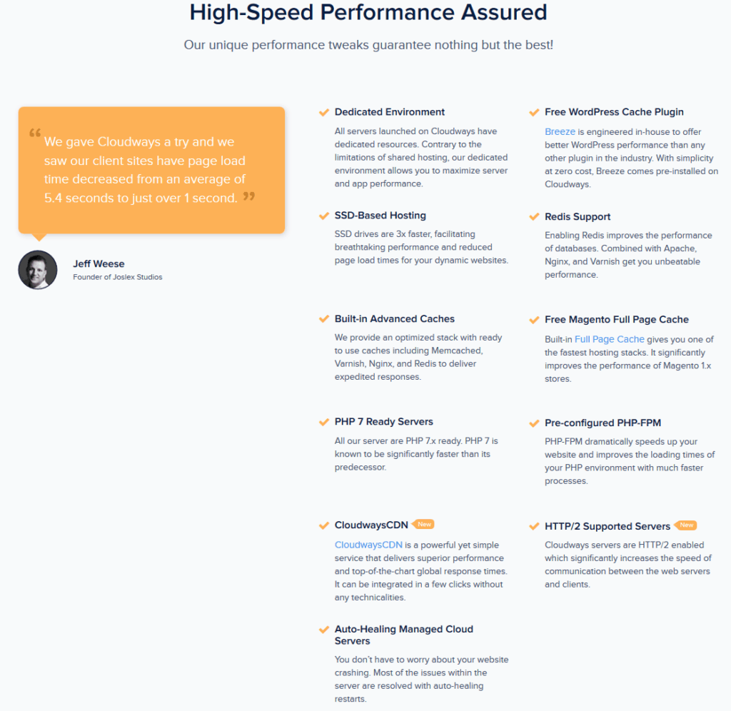 Cloudways speed features